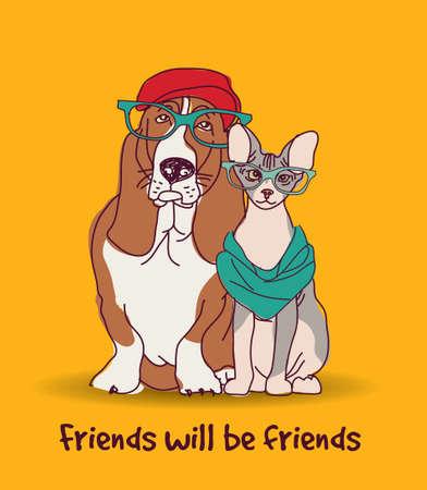Couple Fashion friends pets fun animals card. Color vector illustration. EPS8