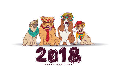 Doodles happy new year card 2018 dogs isolate white. Color vector illustration. EPS8 Illustration