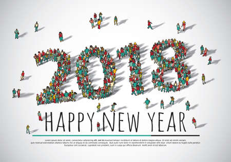 2018 happy new year crowd big group people. Stock Photo