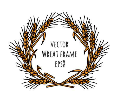 Wheat rye frame wreath isolate object.