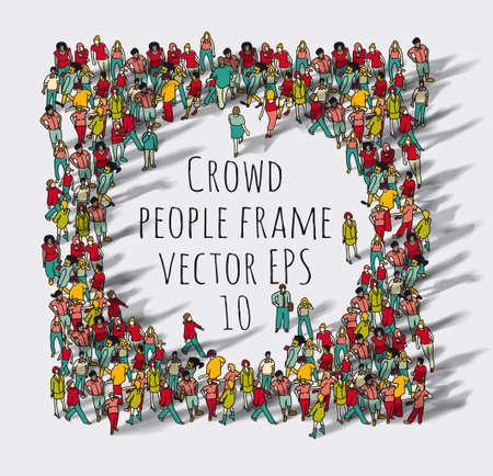 Crowd big group people frame. Color vector illustration. EPS8