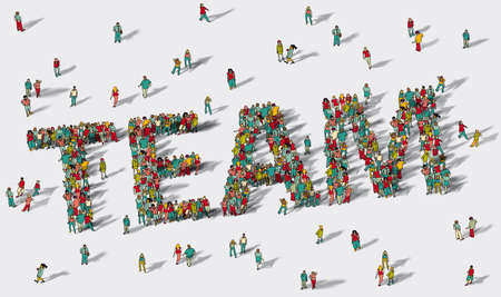Team work big group people. Illustration