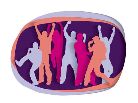 Happy active party people cutout silhouette Illustration