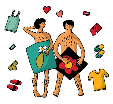 Gay Homosexual naked man couple isolate objects. Illustration