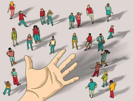 Offer group people hand palm. Color vector illustration. EPS10 Illustration