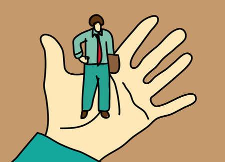 Business men standing on palm hand. Color vector illustration. EPS8