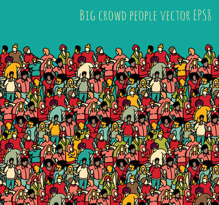 Crowd big group people seamless pattern and sky. Color vector illustration. EPS8