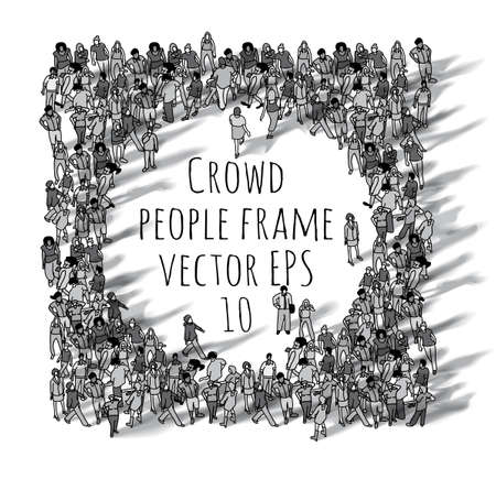 Crowd big group people frame black and white. Stock Photo