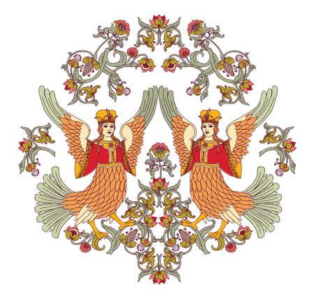 dcor: Old Slavic vintage decor ornament isolate on white. Illustration