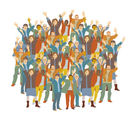 Big crowd happy people isolate on white. Color vector illustration. EPS8