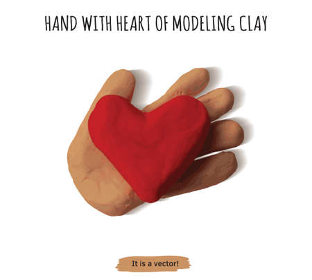 Isolated object hand with heart modeling clay.