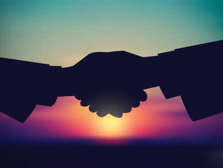 Sky and handshake silhouette start sunrise. Color vector illustration. EPS8 Illusztráció