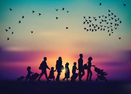 Emigration family sky and birds silhouette.