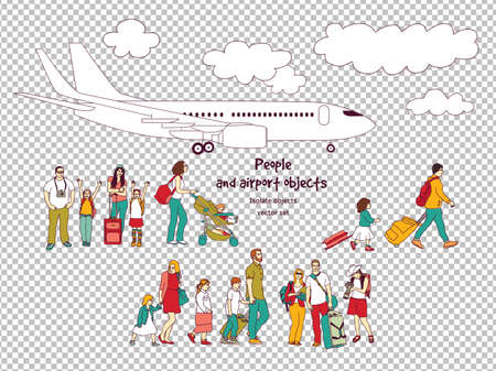 People and airport isolated objects transparent background.