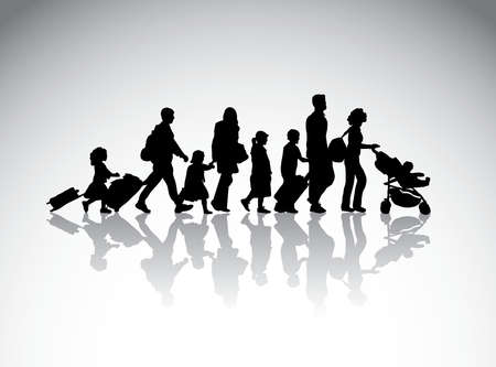 People family travel silhouette symbol. Black and white vector illustration.