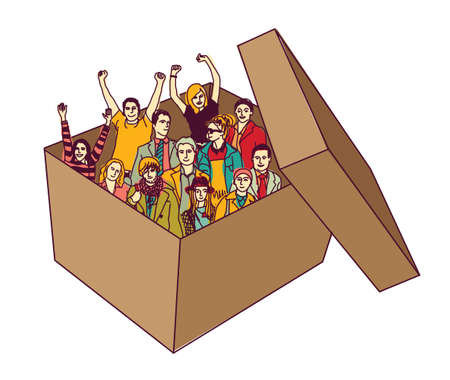 Group happy business team people in box isolate. Color vector illustration.