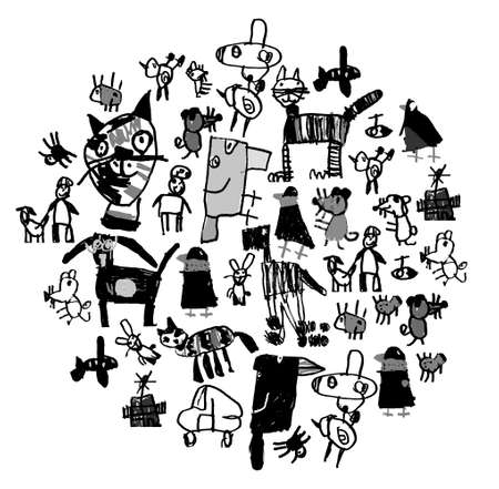 Doodles drawing object animals and people isolate black and white. Banque d'images - 104825030