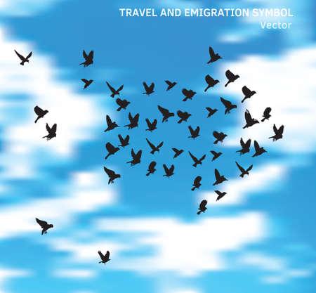 Travel and emigration birds symbol in blue clouds sky. Banque d'images - 104826203