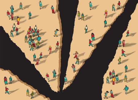 Disunity separation individually group people flat isometric. Color vector illustration. EPS8