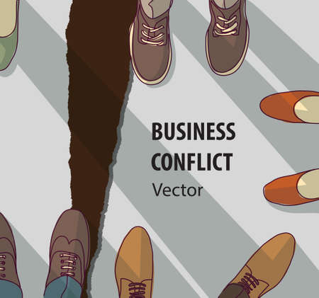 Abstract business conflict relationship collapse symbol. Color vector illustration. EPS8