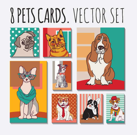 Cats and dogs cards pets set. Color vector illustration. EPS10 Banque d'images - 106305019