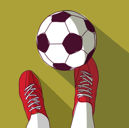 Football player and soccer ball top view Banque d'images - 107749340