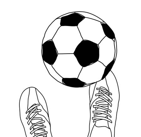 Football player and soccer ball top view black and white Banque d'images - 107749341