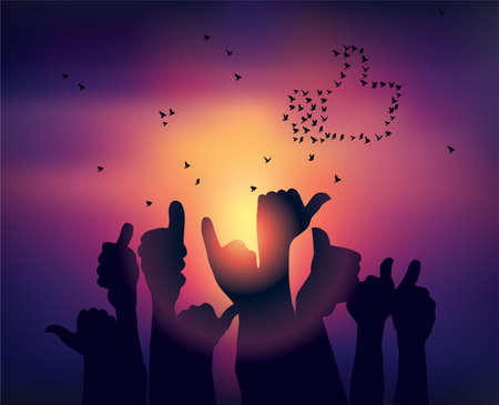 Silhouettes of hands like symbol and birds sunset Banque d'images - 107749342