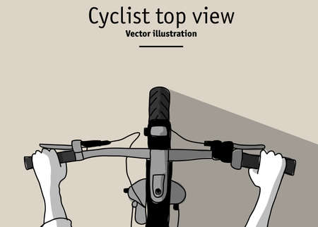 Cyclist and bicycle top view duotone. Color vector illustration. EPS8