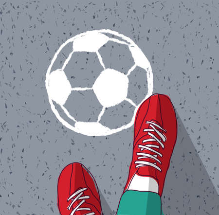 Feet young man top view soccer ball painted on asphalt Banque d'images - 108020106