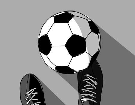 Football player and soccer ball top view grayscale. Vector illustration. EPS8