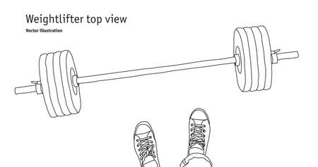 Weightlifter men feet top view. Black and white vector illustration. EPS8 Banque d'images - 110166026