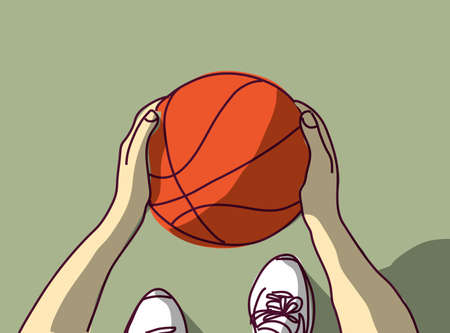 Sport Basketball hands feet and ball top view. Color vector illustration. EPS8 Banque d'images - 110059246