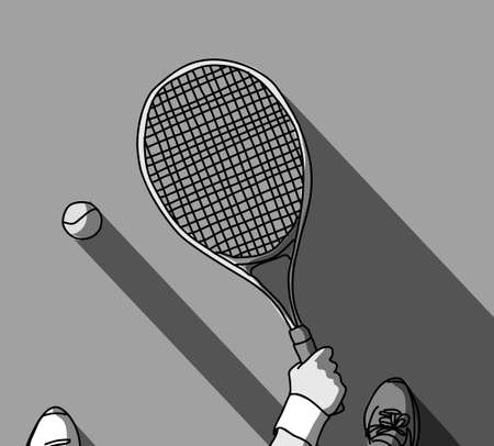 Tennis grayscale feet and hand with racket top view Banque d'images - 108407284