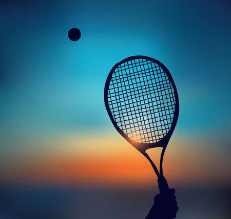 Tennis silhouette of hand with racket in sky Banque d'images - 108407285