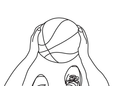 Basketball hands feet and ball top view black and white line Banque d'images - 108407288