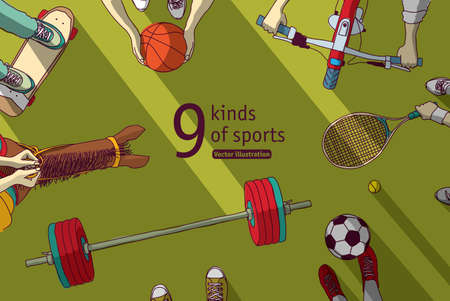 Different sports and athletes set top view. Color vector illustration. EPS8 Banque d'images - 109892097