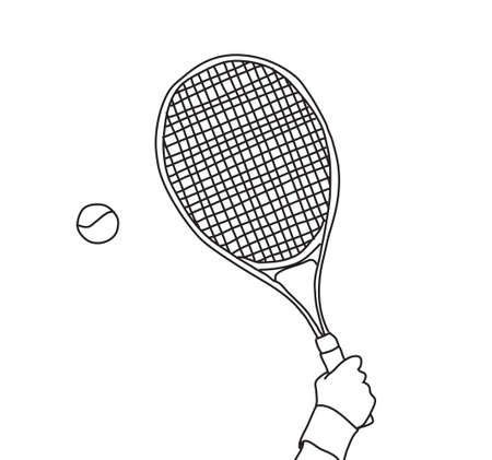 Tennis hand with racket line black and white Banque d'images - 108407483
