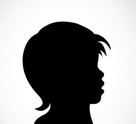 Abstract child black and white silhouette. Monochrome vector illustration. EPS8 Banque d'images - 108609176