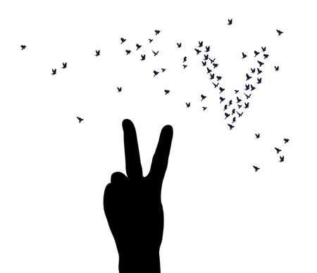 Hand victory symbol silhouette birds isolated on white Banque d'images - 108962872