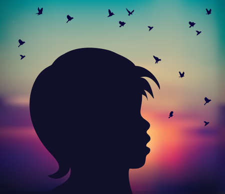 Abstract child silhouette sunrise birds fly freedom Banque d'images - 108962873