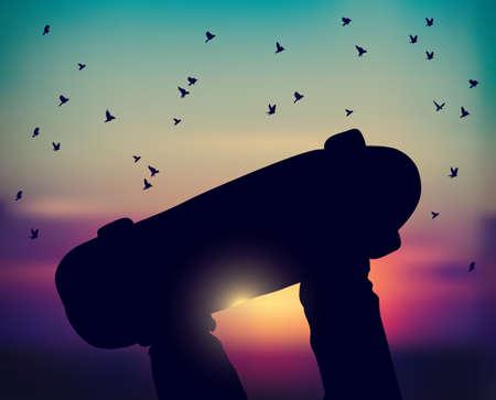 Legs skateboarder skateboard and sunset sky birds fly. Color vector illustration. EPS8 Banque d'images - 109678641