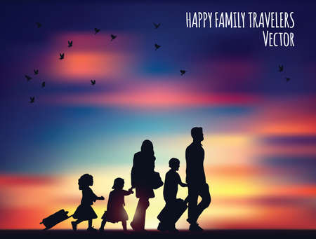 Happy family travelers and landscape. Banque d'images - 122168888