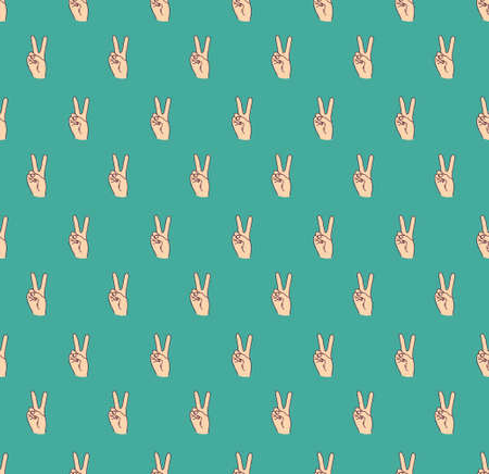 hand victory gesture symbol finger seamless pattern Banque d'images - 122168890