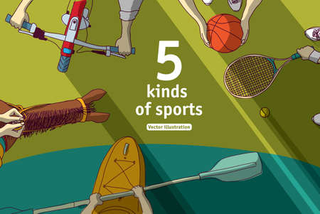 Kinds of sports basketball bicycle horsemanship kayak and tennis top view. Color vector illustration. EPS8