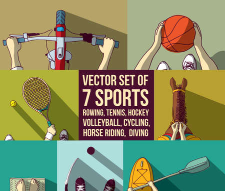 Sports set basketball bicycle horsemanship kayak tennis diving rowing