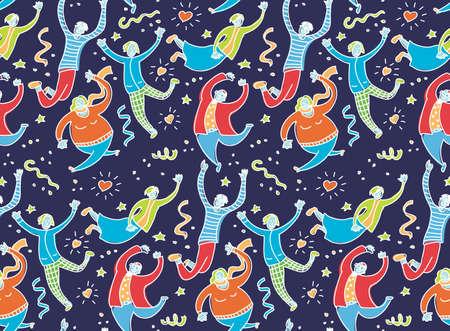 Happy jumping young people dark seamless pattern. Color vector illustration EPS8 Ilustração