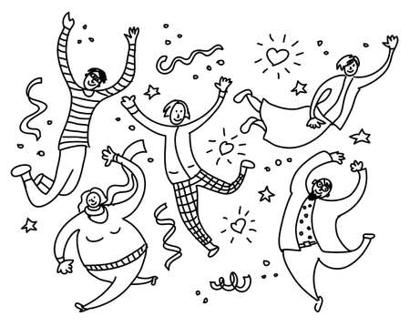 Happy young jumping people black and white. Monochrome vector illustration EPS8 Banque d'images - 115442933