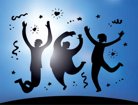 happy jumping group people silhouette and sky. Color vector illustration EPS8