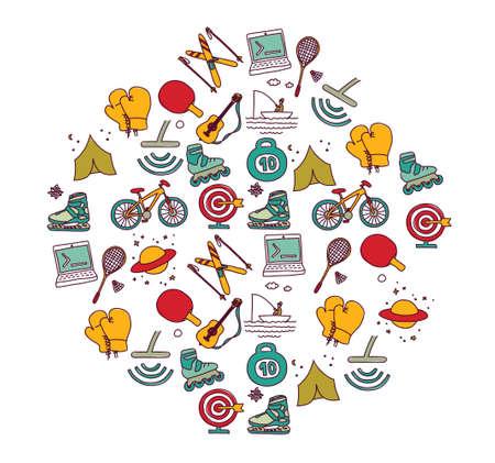 Hobbies men objects sport tourism coding. Color vector illustration EPS8 Ilustração